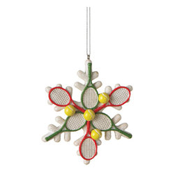 Midwest CBK - Tennis Racquet Snowflake Christmas Tree Ornament - Sports Holiday Decoration - Tennis Racket Snowflake Christmas Ornament