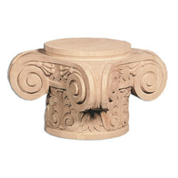 """Inviting Home - Bangor Capital - cherry wood (CP71CH/c71-6) - Wood capital in cherry 8-1/2""""W x 8-1/2""""D x 6""""H bottom: 5-3/4"""" diameter Wood capitals are hand carved in deep relief design from premium selected North American hardwoods such as alder beech cherry hard maple red oak and white oak. They are triple sanded and ready to accept stain or paint. Hardwood capitals are a great way to enhance any pilaster or column."""