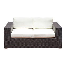 Source Outdoor - King Loveseat - Included Off-White cushions are made of thick outdoor foam covered in durable white outdoor polyester fabric. Color/Finish: Espresso. Material: High Density Polyethylene Wicker. No Assembly required. Frame made with high quality powder coated aluminum to prevent rust and corrosion. Weave is made of High Density Polyethylene, which ensures the long lasting beauty of the furniture. Built to Hospitality grade and meant to be outside in the elements 24/7 . 39 in. L x 68 in. W x 26 in. H, (78 lbs). It is recommended that furniture not be stored upside down