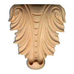 "Inviting Home - Greensboro Large Carving - Red Oak - oak wood carving 5-3/8""H x 4-1/2""W x 1""D Wood carvings are hand carved in deep relief design from premium selected North American hardwoods such as alder beech cherry hard maple red oak and white oak. They are triple sanded and ready to accept stain or paint. Hardwood carvings are perfect for wall applications finishing touches on the custom cabinets or creating a dramatic focal point on the fireplace mantel."