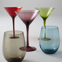 "Horchow - ""Venezia"" Glassware - Attractive hues of glassware imbue any celebratory occasion with clean and simple elegance. Handcrafted of glass. Dishwasher safe. Each size sold in sets of four. Double old-fashioneds hold 20 oz. Martini stems hold 8 oz. Imported."