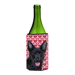 Caroline's Treasures - Australian Kelpie Hearts Love Valentine's Day Wine Bottle Koozie Hugger - Australian Kelpie Hearts Love Valentine's Day Wine Bottle Koozie Hugger Fits 750 ml. wine or other beverage bottles. Fits 24 oz. cans or pint bottles. Great collapsible koozie for large cans of beer, Energy Drinks or large Iced Tea beverages. Great to keep track of your beverage and add a bit of flair to a gathering. Wash the hugger in your washing machine. Design will not come off.