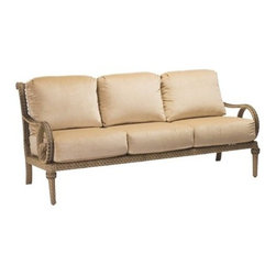 Woodard - Woodard South Shore Sofa - Be forewarned that Woodard�s South Shore collection may take you back to a more elegant time in our history where people dressed up when they entertained and spoke knowingly of great books the arts and polo. Indulge your inner F. Scott Fitzgerald and furnish your outdoor living quarters with the South Shore wicker patio sofa among the other fabulous pieces in this collection. While other outdoor wicker patio furniture may wait for you to create a design around it the South Shore collection is all about an era of unmatched elegance and comfort and becomes the design centerpiece of your patio deck or porch.Woodard uses high quality synthetic fibers in their All Seasons Wicker and hand weaves it over aluminum frames for weather-resistant authentic outdoor wicker patio furniture that is as durable and practical as it is beautiful. Indeed the South Shore wicker patio sofa alone is a statement piece that any patio worth its stone should wear.The name Woodard Furniture has been synonymous with fine outdoor and patio furniture since the 1930s continuing the company�s furniture craftsmanship dating back over 140 years. Woodard began producing hand-made wrought iron furniture which led the company into cast and tubular aluminum furniture production over the years.� Most recently Woodard patio furniture launched its entry into the all-weather wicker furniture market with All Seasons which is expertly crafted and woven using synthetic wicker supported by an aluminum frame.� The company is widely known for durable beautiful designs that provide attractive and comfortable outdoor living environments.� Its hand-crafted technique used to create the intricate design patterns on its wrought iron furniture have been handed down from generation to generation -- a hallmark of quality unmatched in the furniture industry today. With deep seating slings and metal seating options in a variety of styles Woodard Furniture offers the designs you want with the quality you expect.  Woodard aluminum furniture is distinguished by the purest aluminum used in the manufacturing process resulting in an extremely strong durable product which still can be formed into flowing shapes and forms.� The company prides itself on the fusion of durability and beauty in its aluminum furniture offerings. Finishes on Woodard outdoor furniture items are attuned to traditional and modern design sensibilities. Nineteen standard frame finishes and nineteen premium finishes combined with more than 150 fabric options give consumers countless options to design their own dream outdoor space. Woodard is also the exclusive manufacturer of outdoor furnishings designed by Joe Ruggiero home decor TV personality.� The Ruggiero line includes wrought iron aluminum and all weather wicker designs possessing a modern aesthetic and fashion-forward styling inspired by traditional Woodard patio furniture designs. Rounding out Woodard�s offerings is a line of distinctive umbrellas umbrella bases and outdoor accessories.� These offerings are an integral part of creating a complete outdoor living environment and include outdoor lighting and wall mounted or free standing architectural elements � all made with Woodard�s unstinting attention to detail and all weather durability. Woodard outdoor furniture is an American company headquartered in Coppell Texas with a manufacturing facility in Owosso Michigan.� Its brands are known under the names of Woodard Woodard Landgrave and Woodard Lyon Shaw. With a variety of collections Woodard produces a wide array of collections that will be sure to suit any taste ranging from traditional to contemporary and add comfort and style to any outdoor living space. With designs materials and construction that far surpass the industry standards Woodard Patio Furniture creates beauty and durability that is unparalleled.  Features include Unique look of wicker furniture will add style and beauty to your outdoor setting Offered in wide variety of fabric options for cushions Super comfortable high quality cushions designed for extreme comfort Commercial Grade. Specifications Seat Height: 20 inches.