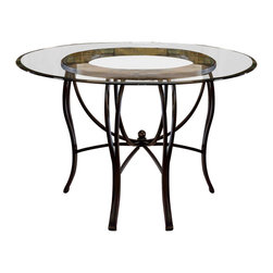 "Hillsdale Furniture - Round Glass-Top Dinette Table - This round glass table top is sure to please, and makes a tasteful addition to any dining room. The smooth glass top and elegantly curved metal legs will add a touch of class and grace that is complementary to any decor. A gracefully curved design and a polished glass top make this attractive table into a beautiful addition to any dining room. It's strong and durable, but not at the expense of its great looks��_a circle of artistic, colorful mosaic holds the glass surface up, completing this beautiful piece. * For residential use. This round glass table top is sure to please, and makes a tasteful addition to any dining room.. Smooth glass top. Elegantly curved metal legs. Black gold / slate mosaic base. 30H x 31.5W x 31.5D - 48"" Diameter"