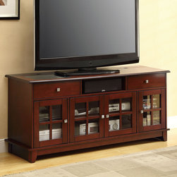 Coaster - 700692 Connect-It TV Console - Furniture for the digital lifestyle. Store, charge and organize your hand-held devices from the comfort of your living room with this Connect-It TV console. Finished in a brown cherry, this unit offers plenty of storage, decorative silver hardware and the convenience of a power drawer at your fingertips. Match this TV console with an occasional group (#700007-700009).
