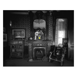 """Painting Light - Ghost Chair, Limited Edition, Photograph - """"This is a light Painting of the front room in the Jacob Henry Mansion in Joliet Illinois. Its a very old haunted mansion with some great stories and Gothic revival architecture. I used some candle-light to enhance the low lighting aspect of the image while walking around in the dark, painting in the rest of this picture with flashlights, and colored gels. I purposely put a green film on the back window, as I knew i wanted to turn the rest of this image to black and white, and leave the very back window in color. When I developed this image, I noticed the upper body  of an old man in the back of the chair. Since I shoot with large format film, this is also on my negative, no manipulation of any kind.  This limited edition print is signed on the back, unless you specify you want me to sign on the front, and comes with a certificate of authenticity.  Custom printed on Canson Infinity 2273 Baryta Photographique Inkjet Paper. In my opinion, the highest professional fine art paper you can buy, with a very heavy fiber count, and wonderful full range of gray scale and color tones.   Fine art print only No frame  """""""