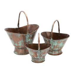 Benzara - Metal Planter - Set of 3 18in.,15in.,13in.W Patio Accents - Size: 18 wide x12 depth x13 high, 15 wide x11 depth x10 high, 13 wide x10 depth x8 high (inches)