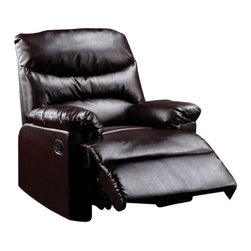 "Acme - Arcadia Brown Bonded Leather Standard Motion Recliner Chair - Arcadia brown bonded leather standard motion recliner chair with overstuffed seats and arms. This recliner features a bonded leather upholstery with a release latch on the side of the recliner, this is a manual recliner you need to push the footrest back to lock it in. Recliner measures 38"" x 35"" x 40"" H. Some assembly may be required."