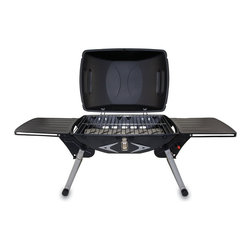 Picnic Time - Portagrillo Portable Gas Grill - Black / Gray and Silver - The Portagrillo by Picnic Time is a heavy-duty, portable gas grill that is great to use at home or while camping or picnicking. It's made of black cold-rolled steel and features a built-in igniter and two sliding side tables for food storage and preparation. It also features a grease tray and an extra large handle that keeps your fingers away from the hot BBQ. The legs fold in for compact storage and easy carrying. The Portagrillo makes a great gift for those who prefer to prepare their meals outdoors. (Propane, not included.)