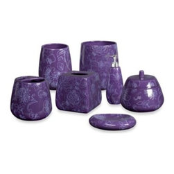Creative Bath Products - Fine Lines Ceramic Waste Basket - Add a burst of color to your home's bathroom with this contemporary Fine Lines Waste Basket. A delightful, floral purple-on-purple print lends a splash of color to this useful bathroom accessory.