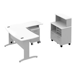 "Bush - Bush Sector 60"" L-Shape Curved Desk with Storage in White - Bush - office Sets - SEC007WH - Room to spare plus everything you need to get started. Bush SECTOR Series Suite 7AC in White with 60""W x 60""D Curved L Desk with filing drawer and 30""W x 20""D Curved Return Work Surface brings everyone together. Stylish yet affordable workstation L-desks and returns are easily reconfigurable. Metal-to-metal connections allow repeated attaching and detaching without joint fatigue. Includes two covered ports for cord and cable management. Four-gang USB hub allows quick connections for recharging phones or connecting peripherals. Straight-leg kit has raceway under desk front and back grommets and removable side leg panel to allow hiding of unsightly cords and cables. Bush Mobile Pedestal (B/F) fits any open collaborative space. One box drawer for supplies and one full extension file drawer hold letter- legal-and A4-size files. Sized to nest conveniently under desk surfaces. Mobile Piler/Filer combines a cubby a flat shelf/inbox and a file drawer for extra versatility. Adaptable 30""W Vertical Storage Shelf adds space and works with Bush 30""W Mobile Piler/Filer. Rugged Diamond Coat top surface blends with other Sector pieces, resists marking, staining and abrasions. Includes Bush 10-year warranty."