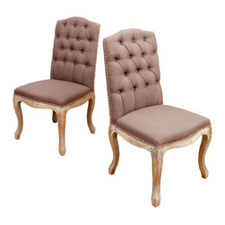 Great Deal Furniture - Jolie Mocha Brown Fabric Dining Chairs (Set of 2) - Add a bit of class with these elegantly designed French inspired dining chairs. Upholstered with mocha brown fabric, these chairs are lined with studded detailing along the edges, with a tufted backrest and stand on weathered oak legs. These stunning chairs also make great accent pieces in your living room.