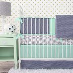 Caden Lane - Mint and Navy Chevron Crib Bedding - How handsome is this color combo? Navy and Mint together are the perfect pair, and to top it off we added a chevron print. The super cute navy and white polka dot crib sheet compliments the mint skirt beautifully.