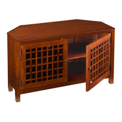 """Holly & Martin - Akita Corner Media Stand, Walnut - Add a contemporary walnut corner media stand to complement your new flat panel TV. The top of this warm walnut stand is distressed to add character and charm. Capable of displaying up to a 42"""" TV, this spacious stand can store all of your media and home theater components neatly and compactly in the corner of any room. The storage area is outfitted with one adjustable shelf on each side and convenient cord management in the rear center. The doors are accented with wonderful contemporary grid window pane doors."""