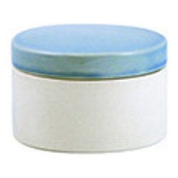 Shell Bisque Canister, Indigo, Short - Don't forget your bathroom! This ceramic catchall is perfect for beautifully hiding away small things.