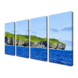 "Ready2HangArt - Ready2hangart Chris Doherty 'Niue Pano P' 4-piece Canvas Wall Art - ""The 'Niue Pano' 4-piece canvas art set depicts a deserted island with lush green foliage, the clam rich blue sea settled below a clear sky. This 4-piece canvas art set features a tropical theme and is gallery-wrapped canvas for a contemporary look."