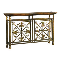 Ambella Home - Paloma Console Table - A pair of metal medallions makes a striking statement in your favorite setting. From its charming bun feet to its exotic wood surface, this elegant console adds the perfect touch to your traditional decor.