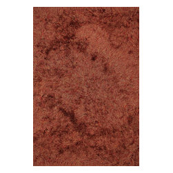 """Loloi Rugs - Loloi Rugs Royal Shag Collection - Rust, 3'-6"""" x 5'-6"""" - The Royal Shag lives up to its name with beautifully subtle variances in color. This sophisticated yet playful collection out of India features lush, hand-crafted strands of polyester."""