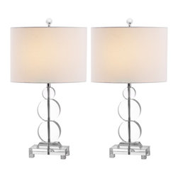 Safavieh - Safavieh Moira Clear Crystal Table Lamp X-2TES-A7904TIL - The brilliantly transitional Moira table lamp artfully balances three crystal discs on silvery metal on its base and fittings.  Complemented with a white cotton drum shade in linen weave, this beautiful fixture will enhance any room.  A 3-way switch lets you adjust the Moira crystal lamp from reading to mood lighting.