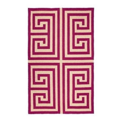 Pink Greek Key Rug - This pink Greek key rug would be so fun in a bedroom, bathroom, kitchen or entryway. It is also available in black, blue and green.