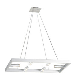 ET2 - ET2 E20744-09 Stealth Modern / Contemporary Pendant Light - It could certainly pass muster in any room within the intelligence community. The dramatic yet stark 4- or 6-light pendant -- with its aluminum frame and lighted aluminum cylindrical-tube housings with frosted-glass trim, which seals the Xenon lamps -- quietly shines inconspicuous ambient and directed illumination in the sleekest of fashions.