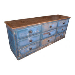 ecofirstart.com - Blue Apothecary Counter - USA late 19th Century Apothecary Store Counter with 9 drawers, with  metal drawer rollers.