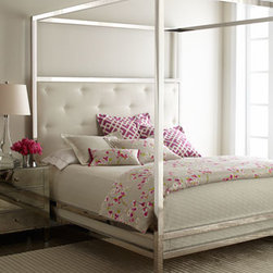 "Bernhardt - Bernhardt Magdalena King Bed - Sleek and modern, this contemporarybed features clean lines and polished surfaces with just a touch of upholstery to soften the look. Handcrafted. Polished, stainless steel canopy bed has button-tufted bonded-leather-upholstered headboards. 82""W x 86..."