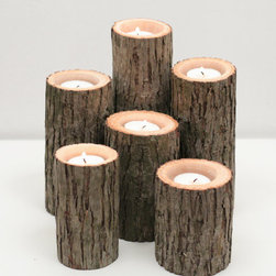 Tree Branch Candleholders by Worley's Lighting - This woodsy candle set would be perfect to cozy up a non-working fireplace.