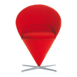 Panton Cone Chair - In the mid-1950's, Verner panton converted a Volkswagen bus into a mobile studio and travelled across Europe. In 1958 he returned to Denmark full of unconventional ideas... one of which evolved into the iconic Heart Cone Chair. Defying gravity, the cone was both futuristic and shocking... so much so that when it was exhibited in a shop window in New York City police had to order its removal due to the traffic chaos its presence created. A comfortable club chair for everyday use, Vitra has faithfully re-issued this classic in close collaboration with the Panton estate. The Heart Cone Chair takes its name from its heart-shaped silhouette.