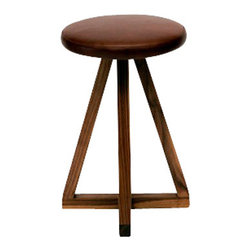 """ARTLESS - X2 Counter Stool - ARTLESS X Stool is the result of a very simple exercise in Platonic forms. Allowing you to appreciate simple geometric shapes from every angle. The design never leaves out some of the ARTLESS basics like 2"""" solid walnut and complete comfort in the leather top."""