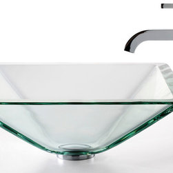 Kraus - Kraus C-GVS-901-19mm-1007CH Clear Aquamarine Glass Vessel Sink and Ramus Faucet - Add a touch of elegance to your bathroom with a glass sink combo from Kraus