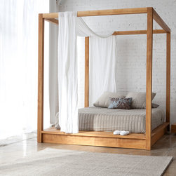 MASH Studios - PCH Canopy Bed - MASH Studios - The PCH Canopy Bed offers a secluded place to rest, with a minimalist approach. The bed joins tightly together with ultra clean lines, and the solid teak construction brings a presence of its own. The PCH Canopy Bed is a piece with truly stunning details, and will definitely exceed your expectations.
