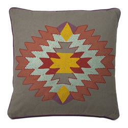 IMAX CORPORATION - Indian Summer Grey Pillow - This Native American inspired pillow features rich gold, coral, turquoise and purple accents that put a spin on traditional southwest style decor. Find home furnishings, decor, and accessories from Posh Urban Furnishings. Beautiful, stylish furniture and decor that will brighten your home instantly. Shop modern, traditional, vintage, and world designs.