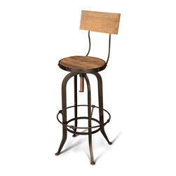 Kathy Kuo Home - Alvar Industrial Loft Reclaimed Oak Iron Vintage Bar Stool - This handsome, vintage piece is crafted from reclaimed oak for a unique, industrial chair-back bar stool. Pull it up and make a toast to your impeccable taste. Finished in matte brown, the iron base and circular foot rest are detailed with rustic rivets.