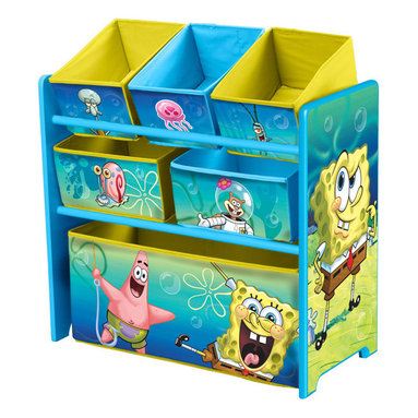 Adarn Inc - Girls Boys Blue Yellow Fabric Disney Sponge Bob 6 Bins Toy Storage Organizer Box - This newly designed Sponge Bob 6 Multi-Bin Toy Organizer is the perfect storage item to keep your child's toys in order. Featuring all of your child's favorite Sponge Bob character. With a brand new color scheme, and six uniquely sized storage boxes, this organizer makes cleaning up easy and exciting. Meets all JPMA safety standards. Some assembly required. Compliments other Sponge Bob item sold separately.