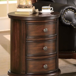 Coaster - Walnut Traditional Bombe Chest - 3 Drawer Round Small Cabinet