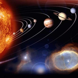 Murals Your Way - Planetary Photojournal Solar Vinyl Wall Decal Wall Art - Mercury, Venus, Earth, Mars and the other planets in our solar system are aligned in their orbit around the fiery star we call the Sun in this