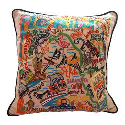 Catstudio - State of Florida Embroidered Pillow - This design celebrates the beautiful sunshine state of Florida. From the keys to Pensacola, Tampa to Palm Beach, Flamingos to Alligators! This pillow is entirely hand embroidered on a light tea-colored cotton cover that buttons off for cleaning. It is accented with black velvet piping and measures 19in x 19in. A down-like poly-fill is included. Dry clean only.