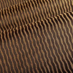 Vista Stripe Upholstery Fabric in Brown - Vista Stripe Upholstery Fabric in Brown has a modern abstract stripe pattern with a glittery metallic sheen that is perfect for a statement piece or pillows. This fabric is extraordinarily durable and available in an array of current colors. This colorway has a deep brown shade alternating with a light golden brown. American made from 100% solution dyed nylon with acrylic backing and a Teflon finish. This fabric passes Wyzenbeek 200,000 double rubs, Calif Bulletin #117, and UFAC, NFPA 260 Class I. Cleaning code: WS. This fabric meets or exceeds ACT standards for upholstery use and is a bleach cleanable fabric. Stripe woven parallel to selvage. Width: 54″