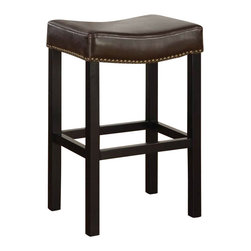 "Armen Living - Armen Living Tudor Backless 26"" Stationary Barstool in Brown Leather - Armen Living - Bar Stools - LCMBS013BABC26 - Comfortable and durable explains the Tudor 26 inches stationary barstool covered in a rich antique brown leather w/ nail head accents. Armen Living is the quintessential modern-day furniture designer and manufacturer. With flexibility and speed to market Armen Living exceeds the customer�s expectations at every level of interaction. Armen Living not only delivers sensational products of exceptional quality but also offers extraordinarily powerful reliability and capability only limited by the imagination. Our client relationships are fully supported and sustained by a stellar name legendary history and enduring reputation. The groundbreaking new Armen Living line represents a refreshingly innovative creative collaboration with top designers in the home furnishings industry. The result is a uniquely modern collection gorgeously enhanced by sophisticated retro aesthetics. Armen Living celebrates bold individuality vibrant youthfulness sensual refinement and expert craftsmanship at fiscally sensible price points. Each piece conveys pleasure and exudes self expression while resonating with the contemporary chic lifestyle."