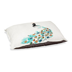 "DiaNoche Designs - Dog Pet Bed Fleece - Peacock II - DiaNoche Designs works with artists from around the world to bring unique, designer products to decorate all aspects of your home.  Our artistic Pet Beds will be the talk of every guest to visit your home!  BARK! BARK! BARK!  MEOW...  Meow...  Reallly means, ""Hey everybody!  Look at my cool bed!""  Our Pet Beds are topped with a snuggly fuzzy coral fleece and a durable underside material.  Machine Wash upon arrival for maximum softness.  MADE IN THE USA."