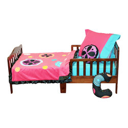 """Magical Michayla - Toddler Set (4pc) - Let the """"Magic"""" of """"Magical Michayla"""" come to life in a room filled with color!  Bold black surrounded by Kaleidoscope like patterns showcased in hues of pink, blue, green, yellow, purple and orange make this collection perfect for all personalities.   This 4pc set includes:  sheet, medium quilt, pillowcase or sham, and decorative pillow. Sheet accents the """"Magical Michayla"""" designer print fabrics in our solid turquoise blue.  Offered in cotton fabric. Magical Michayla coordinating quilt is like no other.  Soft minky on both sides make this the perfect blanket anytime and anywhere!  Pink on one side with detailed appliqu�s in Kaleidoscope patterns with turquoise blue on the opposite side.  Quilt is trimmed in black satin to make this the softest of quilts.  Set come with pillowcase (shown) OR pillow sham.  PIllowcase is pink with blue trim.  Pillow Sham is black with pink  trim, and applique.  Decorative pillow is black with applique and ruffle edging. Requests will be honored if supplies allow."""