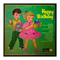 """Glittered Liza with a Z Album - Glittered record album. Album is framed in a black 12x12"""" square frame with front and back cover and clips holding the record in place on the back. Album covers are original vintage covers."""