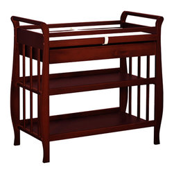 AFG Baby - AFG Baby Nadia Changing Table in Cherry - The Nadia Changing Table is constructed of solid pine wood available in a variety of classic finishes. The sleigh style changing table is designed with safety and comfort in mind. A safety strap and 1-inch pad is offered for the changer top. Storing your baby necessities has never been easier with the attached drawer, which glides smoothly over metal runners, and two open shelves for other items. A smooth sleigh style changing table can be paired with any Athena crib.