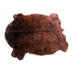 Fur Accents - Faux Buffalo Hide Accent Rug / Plush Faux Fur Plains Buffalo / Rich Brown Shaggy - A Truly Unique Accent Rug. Rich Shaggy Brown Faux Animal Pelt Area Carpet. Plains Buffalo Design. Made from 100% Animal Free and Eco Friendly Fibers. Perfect for the Winter Lodge, Log Cabin or Family Great Room. Spread out in front of the Hearth or hang on the wall over the Mantle. Tastefully lined with real Parchment Ultra Suede. Luxury, Quality and Unique Style for the discriminating designer and decorator.