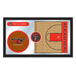 "Holland Bar Stool - Holland Bar Stool Texas Tech Basketball Mirror - Texas Tech Basketball Mirror belongs to College Collection by Holland Bar Stool The perfect way to show your school pride, our basketball Mirror displays your school's symbols with a style that fits any setting.  With it's simple but elegant design, colors burst through the 1/8"" thick glass and are highlighted by the mirrored accents.  Framed with a black, 1 1/4 wrapped wood frame with saw tooth hangers, this 15""(H) x 26""(W) mirror is ideal for your office, garage, or any room of the house.  Whether purchasing as a gift for a recent grad, sports superfan, or for yourself, you can take satisfaction knowing you're buying a mirror that is proudly Made in the USA by Holland Bar Stool Company, Holland, MI.   Mirror (1)"