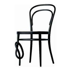 Gebruder T 1819 - Gebruder T 1819 214 Bentwood Chair - With Knot - The famous coffee house chair is an icon and is still regarded as the most successful industrial product in the world. The chair seat is available with in wickerwork, moulded plywood, or upholstered. The wickerwork chair is also available with a knot in the right front leg. Manufactured by Gerbruder T 1819.Designed in 1859.