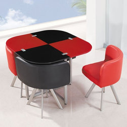 Global Furniture - 5 Piece Dining Table Set in Red & Black with Metal Legs - D53 - Set includes Table and 4 Dise Chairs