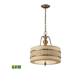 ELK - ELK 31386/3-LED Pendant - The Luxembourg collection blends classic detailing with modern design.  This series has a pleated cream fabric drum shade accented with metal rings and traditional hardware finished in Brushed Antique Brass.