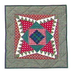 Patch Quilts - Yuletide Stars Toss Pillow 16 x 16 Inch - Decorative patchwork quilted pillow  - Accents with ensembles and bedding items from Patch Magic   - Machine washable  - Line or Flat dry only Patch Quilts - TPYULE